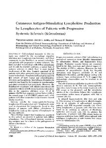 Cutaneous Antigen-Stimulating Lymphokine Production by Lymphocytes of Patients with Progressive Systemic Sclerosis (Scleroderma)