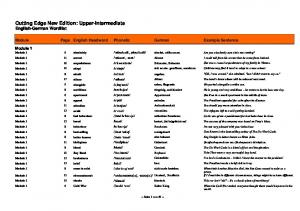 Cutting Edge New Edition: Upper-Intermediate English-German Wordlist