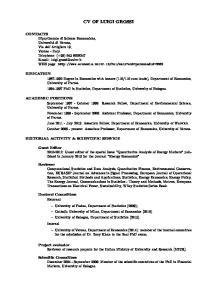 CV OF LUIGI GROSSI ACADEMIC POSITIONS