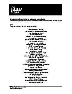 CW: Noche Oscura, de San Juan de la Cruz