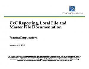 CxCReporting, Local File and Master File Documentation