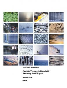 CYANCO SUPPLY CHAIN IN MEXICO. Cyanide Transportation Audit Summary Audit Report PROJECT NO