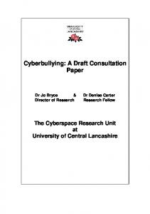 Cyberbullying: A Draft Consultation Paper