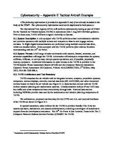 Cybersecurity Appendix E Tactical Aircraft Example