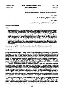 Cyberstalking Nature and Response Recommendations