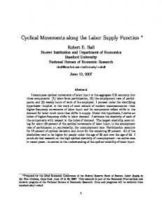 Cyclical Movements along the Labor Supply Function