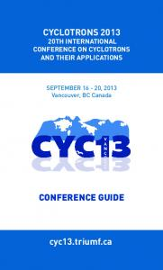 CYCLOTRONS TH INTERNATIONAL CONFERENCE ON CYCLOTRONS AND THEIR APPLICATIONS
