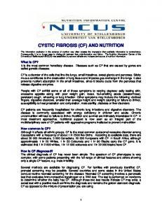 CYSTIC FIBROSIS (CF) AND NUTRITION