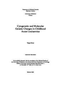 Cytogenetic and Molecular Genetic Changes in Childhood Acute Leukaemias