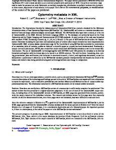 Cytometry metadata in XML