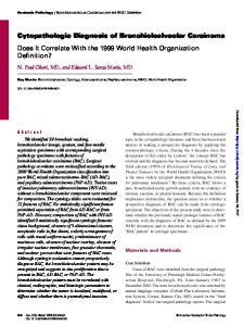 Cytopathologic Diagnosis of Bronchioloalveolar Carcinoma Does It Correlate With the 1999 World Health Organization Definition?