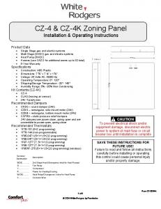 CZ-4 & CZ-4K Zoning Panel Installation & Operating Instructions
