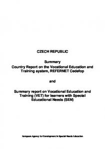 CZECH REPUBLIC. Summary Country Report on the Vocational Education and Training system, REFERNET Cedefop. and