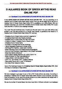D AULAIRES BOOK OF GREEK MYTHS READ ONLINE PDF
