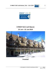 D-RWAF-Fahrt nach Beaune 19. Juni 22. Juni 2014