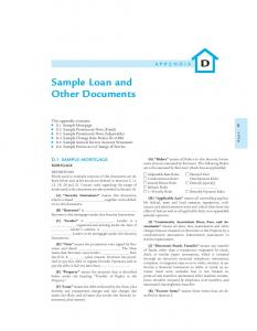D Sample Loan and Other Documents