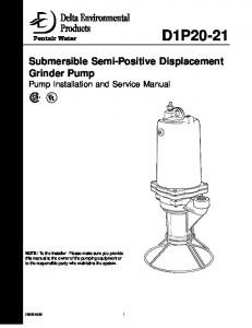 D1P Submersible Semi-Positive Displacement Grinder Pump Pump Installation and Service Manual