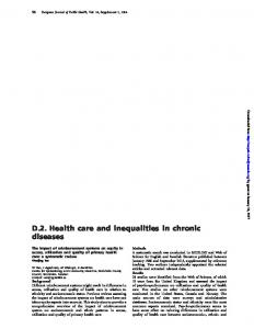 D.2. Health care and inequalities in chronic diseases