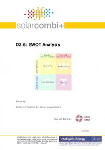 D2.6: SWOT Analysis. Project Partner. Edited by: Ms Myrto Theofilidi, Dr. Yannis Vougiouklakis