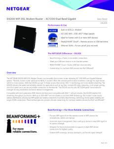 D6200 WiFi DSL Modem Router - AC1200 Dual Band Gigabit