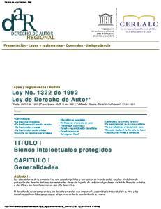 *Dada: Abril 2 de 1992 Promulgada: Abril 13 de 1992 Publicada: Gaceta Oficial de Bolivia abril 27 de 1992