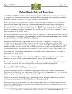 Daffodil Parade Rules and Regulations