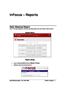 Daily Absence Report This is a flat report, grouped by Homeroom, providing student totals with academic session selection. Sample Report