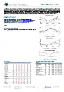 Daily Credit Report. Daily Credit Report 04 July Today: