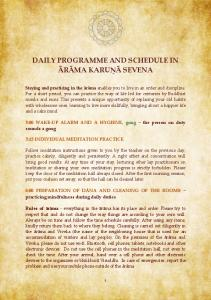 DAILY PROGRAMME AND SCHEDULE IN ĀRĀMA KARUṆĀ SEVENA