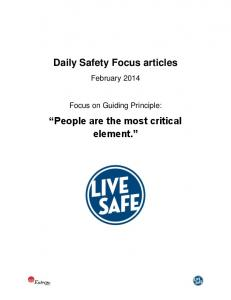 Daily Safety Focus articles. People are the most critical element