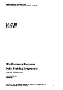 Daily Training Programme. FISA Development Programme. Lausanne, Switzerland January 2001
