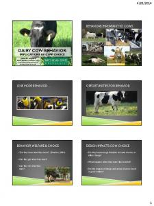 DAIRY COW BEHAVIOR: IMPLICATIONS OF COW CHOICE