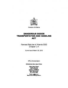 DANGEROUS GOODS TRANSPORTATION AND HANDLING ACT