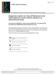 Dangerous student car drop-off behaviours and child pedestrian-motor vehicle collisions: an observational study