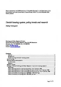 Danish housing system, policy trends and research