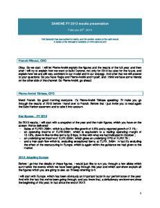 DANONE FY 2013 results presentation