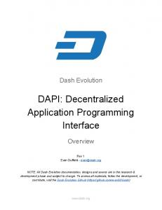 DAPI: Decentralized Application Programming Interface