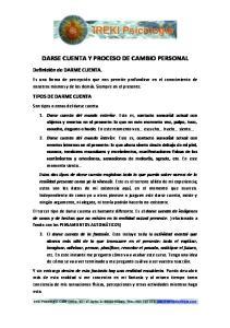 DARSE CUENTA Y PROCESO DE CAMBIO PERSONAL