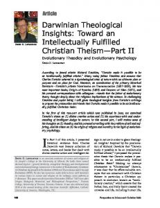 Darwinian Theological Insights: Toward an Intellectually Fulfilled Christian Theism Part II Evolutionary Theodicy and Evolutionary Psychology