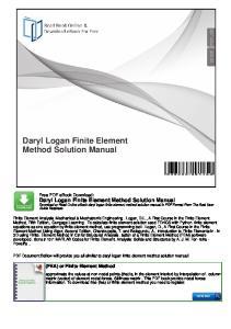 Daryl Logan Finite Element Method Solution Manual