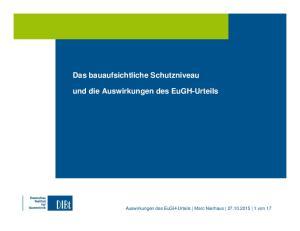 Das bauaufsichtliche Schutzniveau und die Auswirkungen des EuGH-Urteils