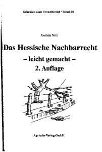 Das Hessische Nachbarrecht