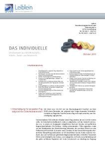 DAS INDIVIDUELLE. Oktober Informationen aus dem Wirtschafts-, Arbeits-, Sozial- und Steuerrecht. Inhaltsverzeichnis
