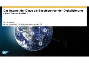 Das Internet der Dinge als Beschleuniger der Digitalisierung - Status Quo und Ausblick -