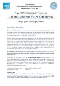 Das LEGO MINDSTORMS - Robotik-Labor im VDIni-Club Berlin