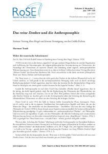 Das reine Denken und die Anthroposophie