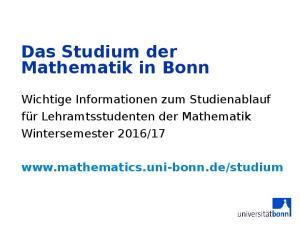 Das Studium der Mathematik in Bonn
