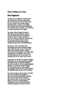 Das Tagebuch. Johann Wolfgang von Goethe