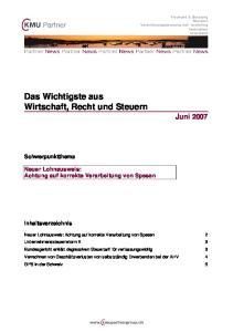 Das Wichtigste aus Wirtschaft, Recht und Steuern Juni 2007