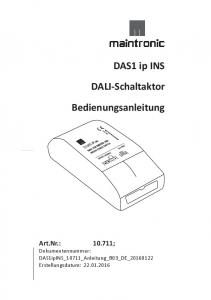DAS1 ip INS. DALI-Schaltaktor. Bedienungsanleitung